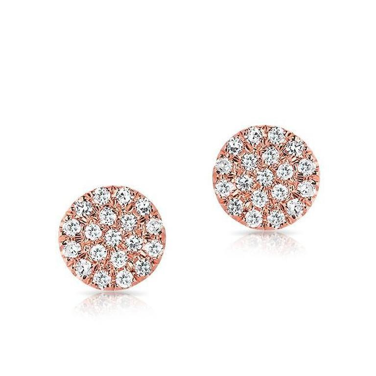 Flat Mini Disc Diamond Earrings