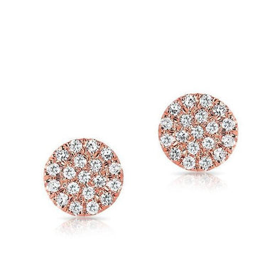 14K Rose Gold Flat Mini Disc Diamond Earrings