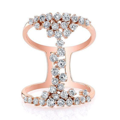 14K Rose Gold Floating Diamond Ring