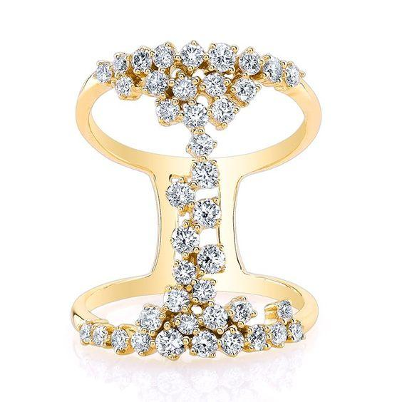14K Yellow Gold Floating Diamond Ring