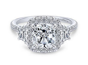 14K White Gold Diamond Cushion Halo + 3 Stone Mounting