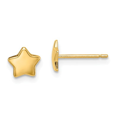 14K Yellow Gold Children's Star Earrings