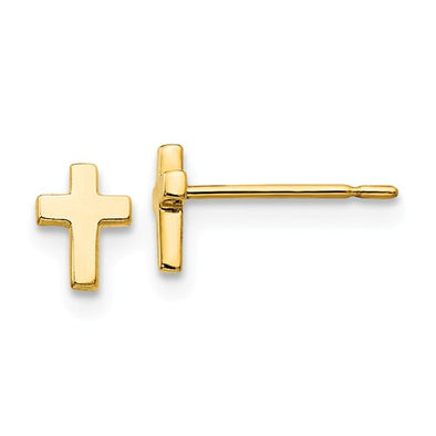 14K Yellow Gold Children's Cross Earrings