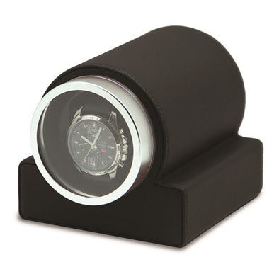 Rotations Black Faux Leather Glass Window 1-Watch Winder