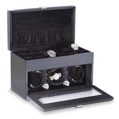 Carbon Fiber 3-Watch Winder With 12-Watch Storage