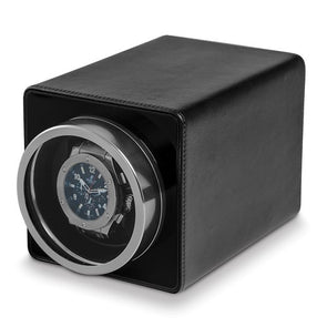 Rotations Black Faux Leather 1-Watch Winder