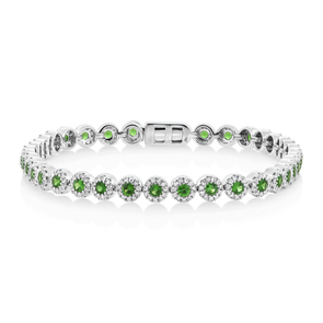 14K White Gold Green Garnet Sapphire and Diamond Tennis Bracelet