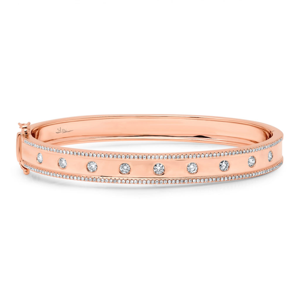 "14K Rose Gold High Polished Diamond ""Lights"" Bangle"