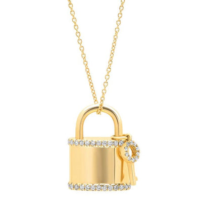 14K Yellow Gold Diamond Locket And Key Necklace