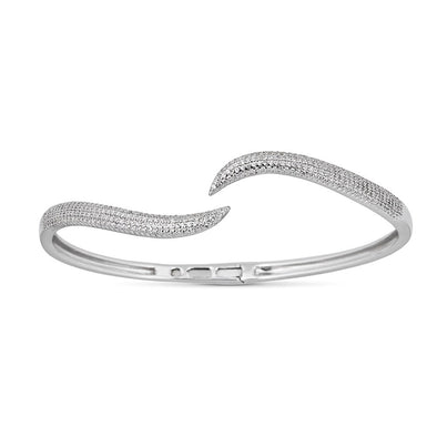 14K White Gold Diamond Wavy Hinged Bangle