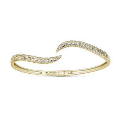 14K Yellow Gold Diamond Wavy Hinged Bangle