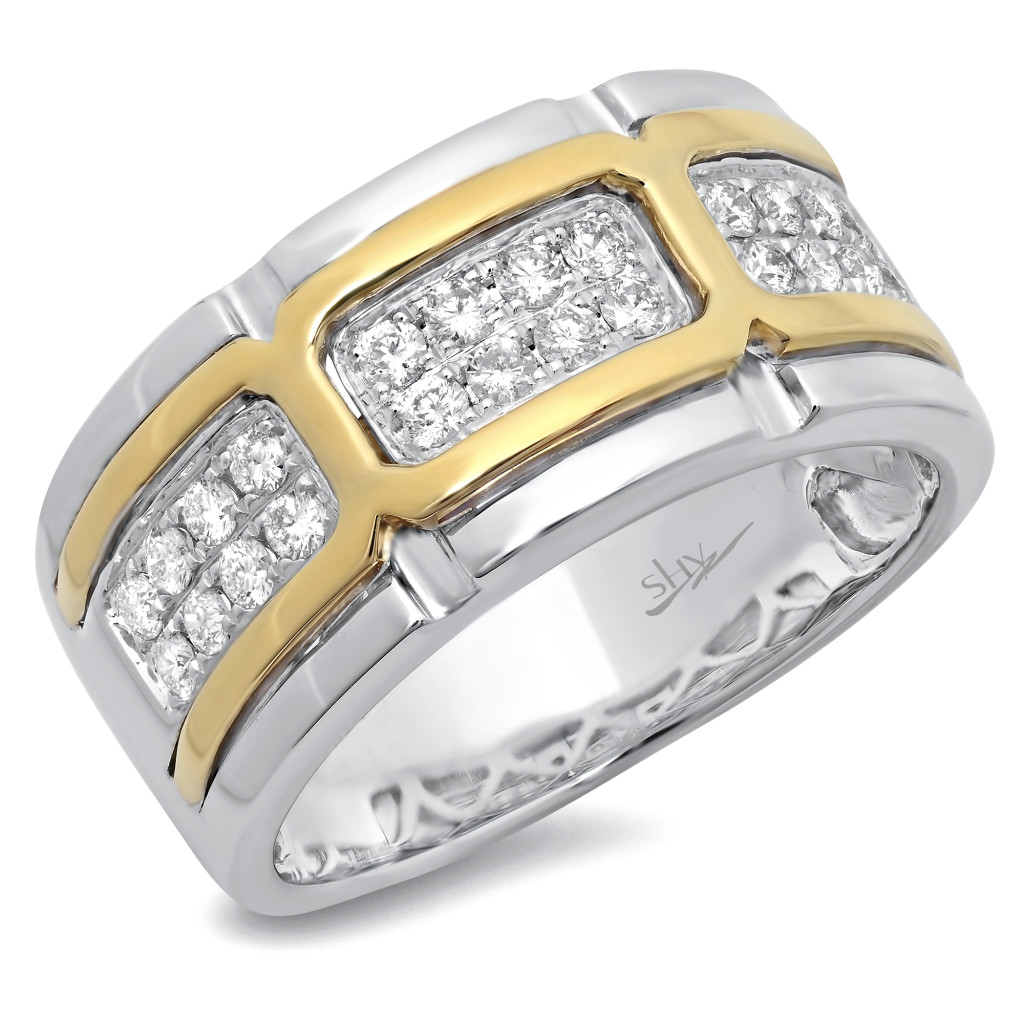 Two-Tone Gold Diamond Men's Band