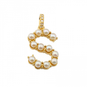 "14K Yellow Gold Pearl Initial ""S"" With Diamond Bail Charm/Pendant"