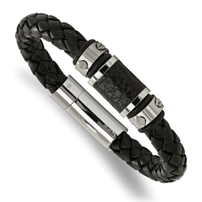Stainless Steel Brushed/Polished Black Leather Black Rubber Bracelet