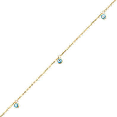 14k gold evil eye anklet