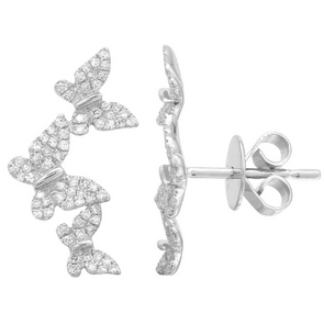 14K White Gold Diamond Triple Butterfly Earrings