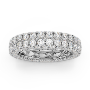 18K White Gold Diamond Double Row Seamless Collection Eternity Band