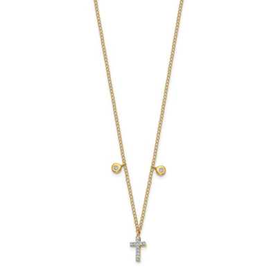14K Yellow Gold Dainty Diamond Cross Necklace