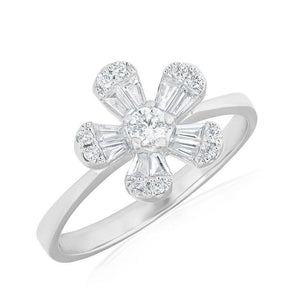 14K White Gold Baguette Diamond Small Flower Ring
