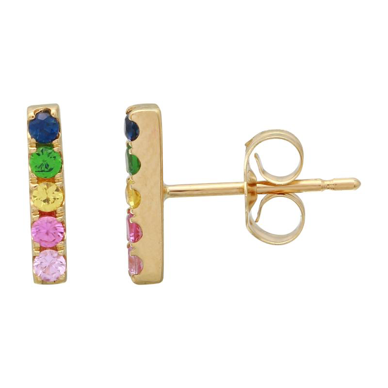 Rainbow Stud Bar Earrings