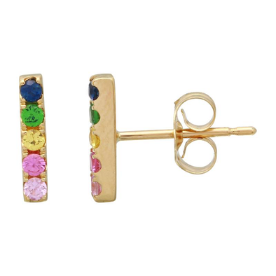 Yellow 14K Rainbow Multi-Sapphire Bar Earrings