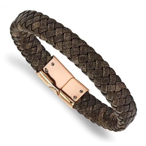 Stainless Steel Polished Rose Braided Brown Leather Bracelet