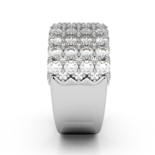 18K White Gold Diamond Thick Seamless Band