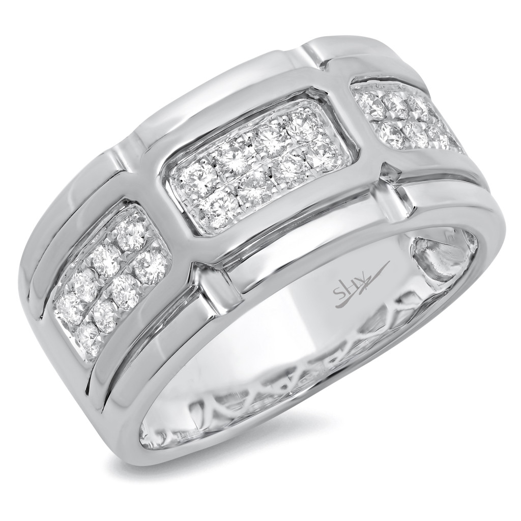 White Gold Diamond Men's Band
