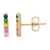 14K Rose Gold Rainbow Bar Earrings