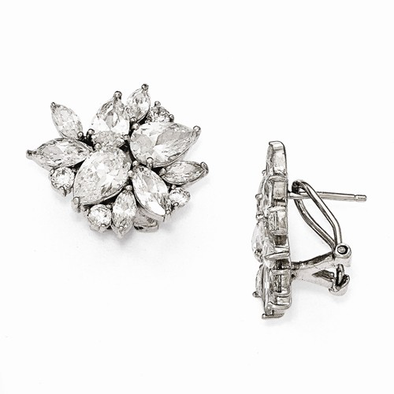 Sterling Silver Cubic Zirconia (CZ) Omega Back Earrings