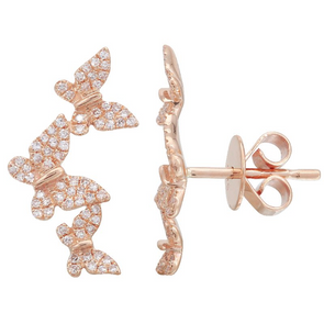 14K Rose Gold Diamond Triple Butterfly Earrings