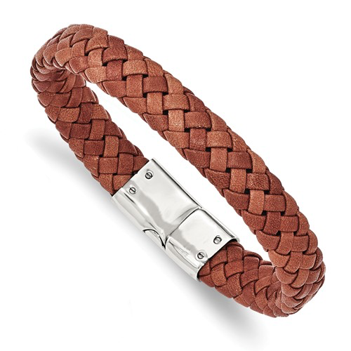 Stainless Steel Polished Woven Brown Leather Bracelet