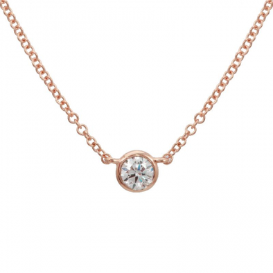 14k Rose Gold bezeled Diamond Necklace