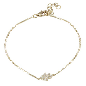 14K Yellow Gold Diamond Pave Hamsa Bracelet