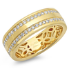 14K Yellow Gold Double Row Diamond Men's Band