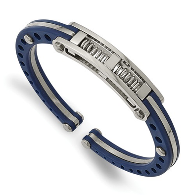 Stainless Steel Blue PVC Hinged Bangle
