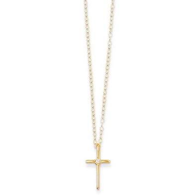 14K Yellow Gold Baby Diamond Cross Necklace