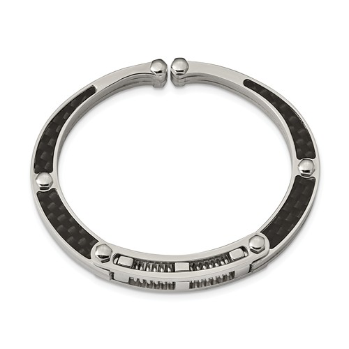 Stainless Steel Brushed And Polished Carbon Fiber Inlay Hinged Bangle