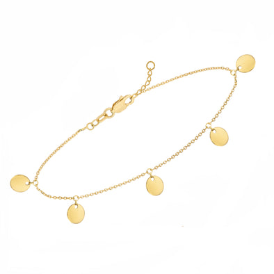 14k gold dangle mini disc anklet