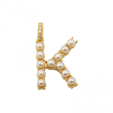 "14k Yellow Gold Pearl Initial ""K"" With Diamond Bail Pendant"