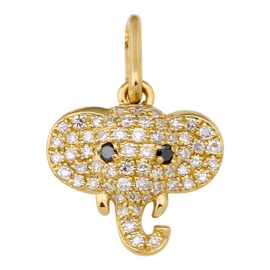 14K Yellow Gold Diamond Elephant Pendant