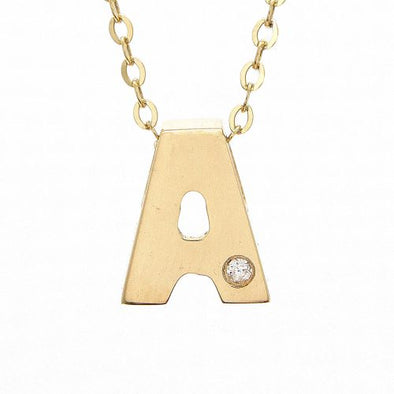 "14K Yellow Gold Initial ""A"" With Diamond Necklace"