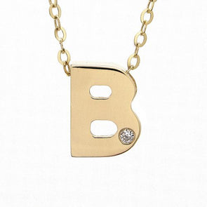 "14K Yellow Gold Initial ""B"" With Diamond Necklace"