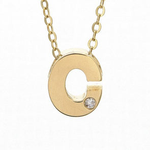 "14K Yellow Gold Initial ""C"" With Diamond Necklace"