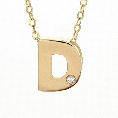 "14K Yellow Gold Initial ""D"" With Diamond Necklace"