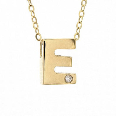 "14K Yellow Gold Initial ""E"" With Diamond Necklace"