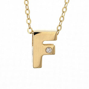 "14K Yellow Gold Initial ""F"" With Diamond Necklace"