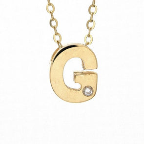 "14K Yellow Gold Initial ""G"" With Diamond Necklace"