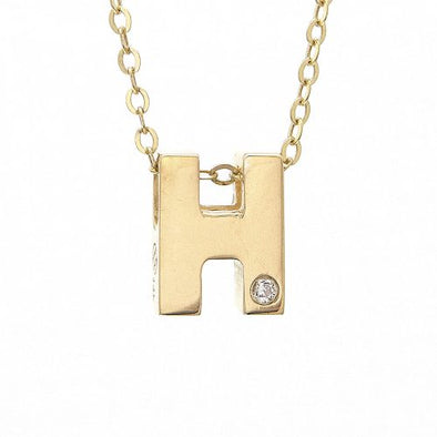 "14K Yellow Gold Initial ""H"" With Diamond Necklace"