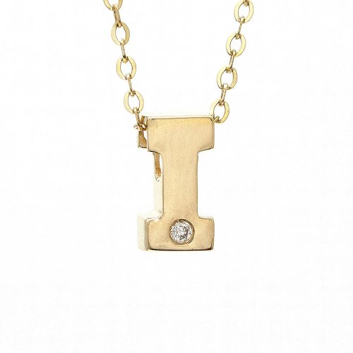 "14K Yellow Gold Initial ""I"" With Diamond Necklace"